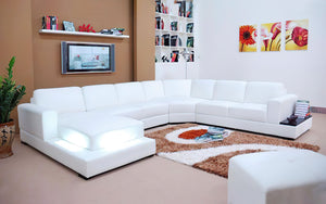 Spencer Leather Sectional with LED Light
