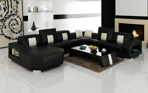 Bozeman Leather Sectional with Shape Chaise