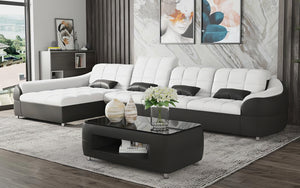 Aumin Small Leather Sectional with Chaise