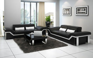 Sylmar Modern Leather Sofa Set With Adjustable Headrest