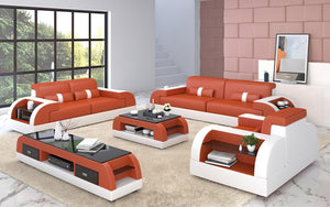 Piliu Leather Sofa Set with Side Storage
