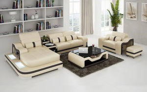 Bayard Leather Sectional With Ottoman