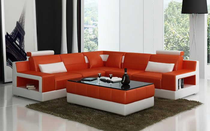 Hybra Modern Leather Sectional