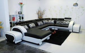 Angle Leather Sectional with Adjustable Headrest