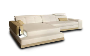 Carsa Mini Modern Leather Sectional with Chaise