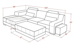 [Daily Deal] Trista Modern Leather Sectional with Top Grain Italian Leather With LED