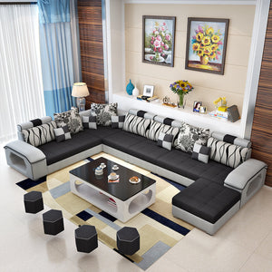 [Sold] Selena Black & Light Grey Modular Tufted Sectional STYLE B