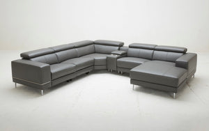 Violla Modern Leather Sectional with Recliner