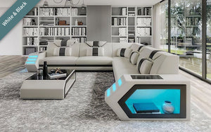 Mcmanu Modern Leather Sectional with LED Light