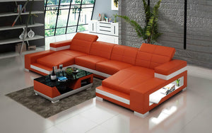 Ainslee Modern Leather Sectional Couch with LED Light