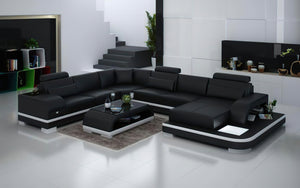 Everly Leather Sectional with LED Lights
