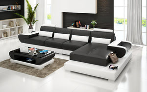 Mirak Small Modern Leather Sectional