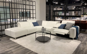 [Sold] VOYAGE MODERN LEATHER SECTIONAL WITH OTTOMAN