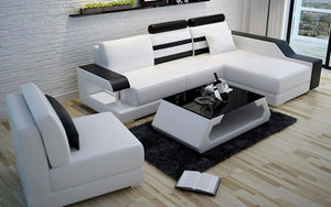 Norba Small Modern Leather Sectional with Chaise