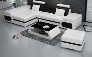 Lanz Mini Modern Leather Sectional with Chaise