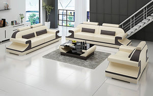 Pantaleon Leather Sofa Set With Shape Arm