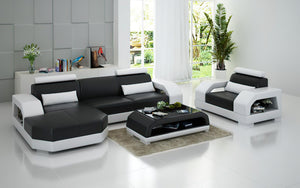 Luxi Mini Modern Leather Sectional with Chaise