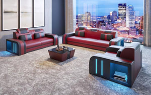 Ralutic Leather Sofa Set with LED Light