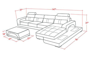Kendrick Leather Sectional with Adjustable Headrest