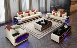 Artica Leather Sofa Set with Adjustable Headrest