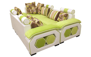 Selena Green & White Modular Tufted Sectional