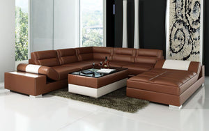 Thataway Modern Leather Sectional with Storage