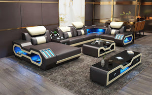 Bigelow Leather Sectional with USB Charger