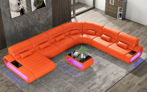 Catina XL Leather Sectional with LED Light