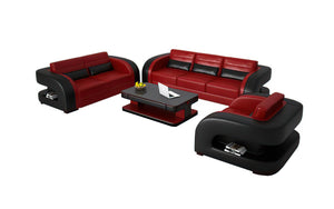 Hennessey Modern Leather Sofa Set