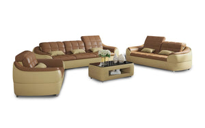 Aumin Modern Leather Sofa Set with Adjustable Headrest