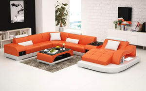 Browns Leather LED Light Sectional with Shape Chaise