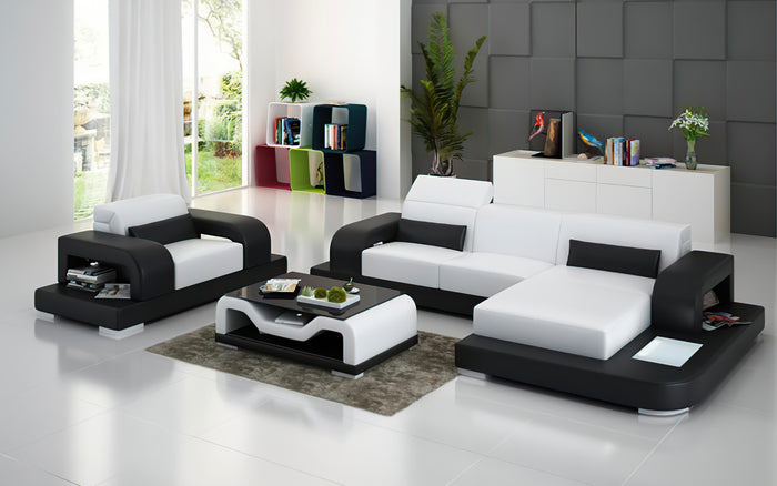 Gara Mini Modern Leather Sectional with Chaise