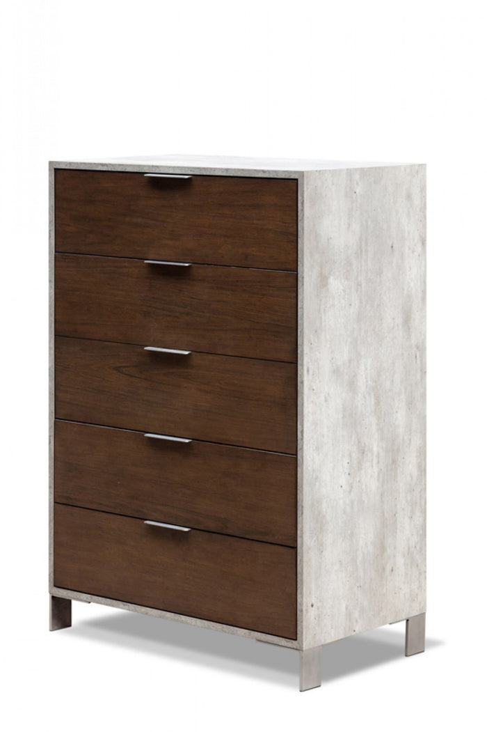 Camona Modern Dark Walnut & Faux Concrete Chest