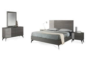 Polish Modern Faux Concrete & Grey Bedroom Set