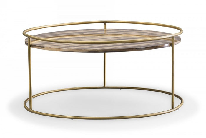 Glim Glam Brown and Gold Marble Coffee Table