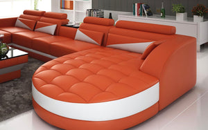 Geode Leather Sectional with Shape Chaise