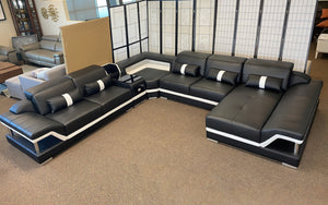 [Sold Out] (Color: White & White) Bewley Modern Leather Sectional With Storage