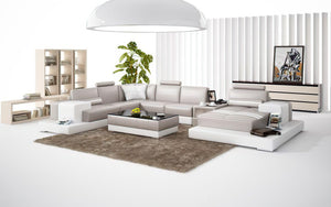 Halsey Leather Sectional with LED Lights
