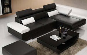 Merdell Mini Modern Leather Sectional with Chaise