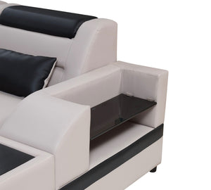 Milky Way 6 Modern Leather Sectional with USB Port