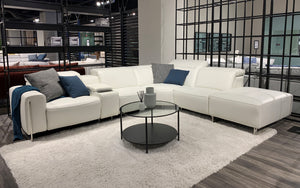VOYAGE MODERN LEATHER SECTIONAL WITH OTTOMAN