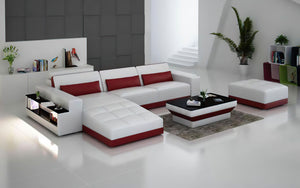 Silian Leather Sectional with Storage & LED Light
