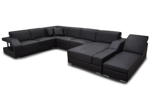 Sadie Modern U-Shape Leather Sectional with Side Chaise