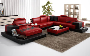 Halsey Modern U-Shape Leather Sectional with Console Table