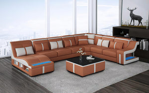 [Sold] Lisa Modern U Shape Leather Sectional - Top Grain Italian Leather With Left Arm Facing Chaise