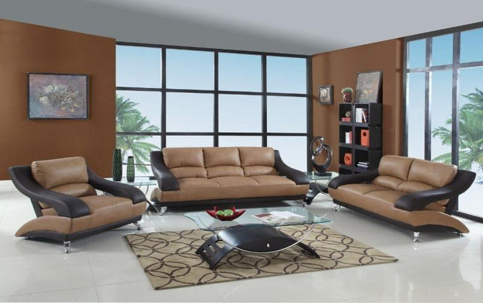[Sold Out] Tesmin Brown & Dark Brown Leather Two-Tone Sofa Set
