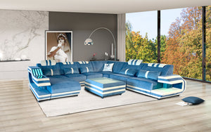 Celine Leather Sectional with LED Light
