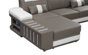 Milky Way 3 Modern Leather Sectional with LED Light