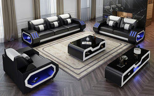 Omont Leather Sofa Set with LED Light