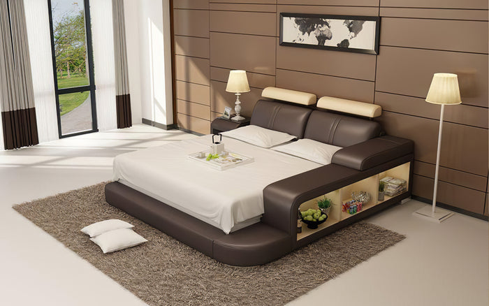 Golden Leather Bed With 3 Storages